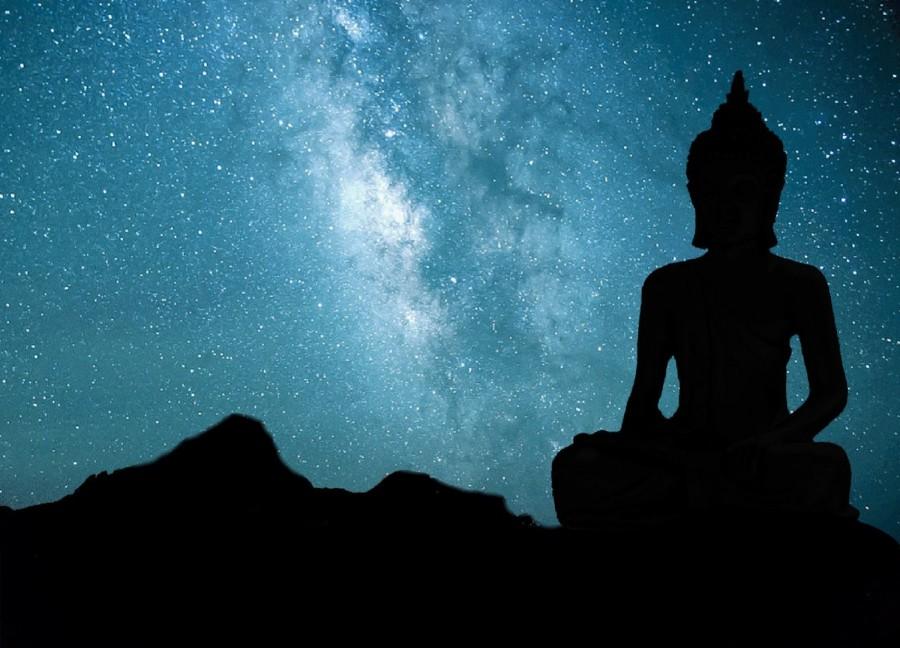 Buddha, Buddhism, statue, sky, starry, universe, spirituality, Milky Way, religion,