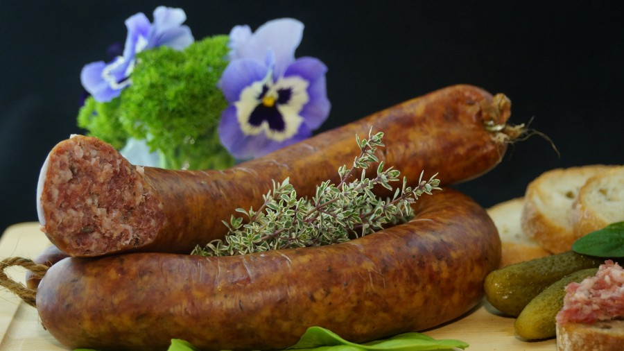 sausage, food, eat, food and beverage, delicious, substantial, cured meats, homemade meals, sausages, pickles