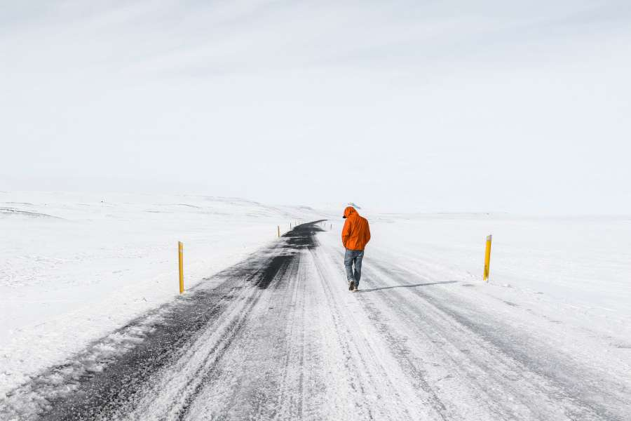road, snow, ice, arid, man, one person, cold, winter, frozen, temperature, walk, outside,