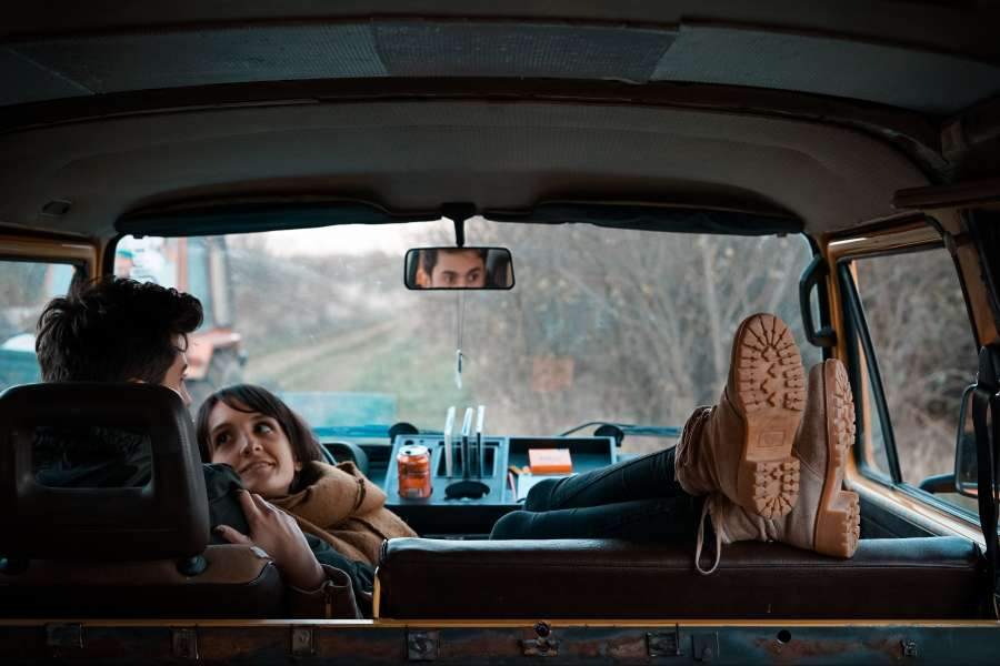 couple, young, hug, love, car, trip, interior, recumbent, winter, road, route, vacation, in love,