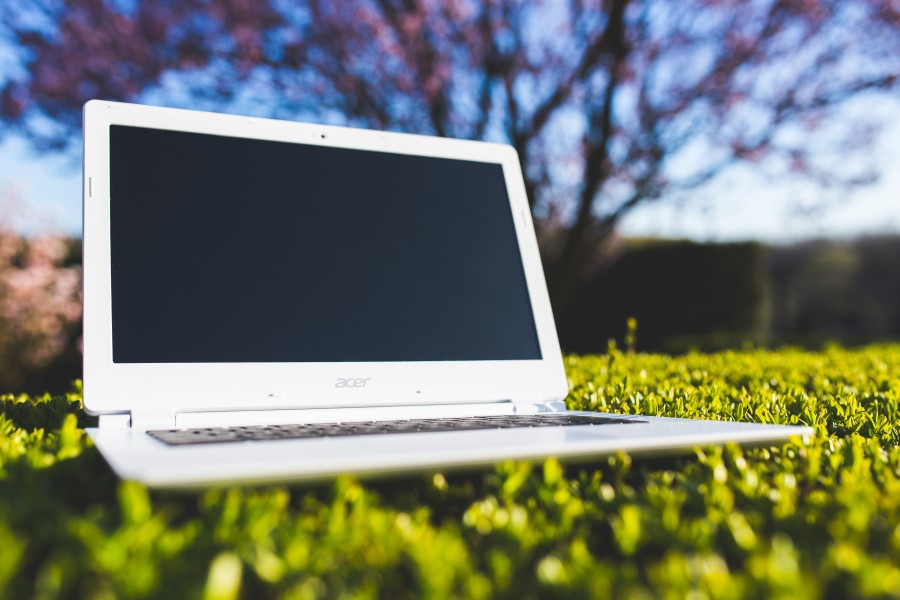 laptop, office, work, grass, sunny, after work, vacation, equipment, white, technology, display, nature, notebook, lawn