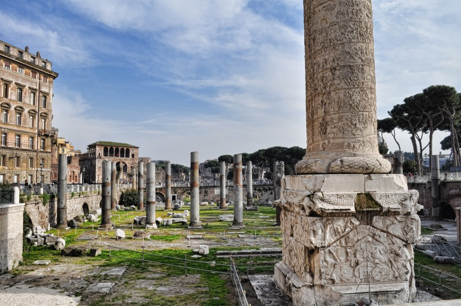 column,italy,rome,trajan,carved,landmark,blue,historic,roma,monumental,culture,cultural,italia,sky,empire,heritage,outdoor,city,emperor,historical,traiana,ancient,ruin,ruins,forum,view,roman,symbol,fragment,temple,stone,excavations,travel,famous,archeology,scenes,outdoors,architecture,center,monument,europe,old,capital,marble,place,imperial,landscape,tourism,italian,downtown,history,round, Roman Senate,