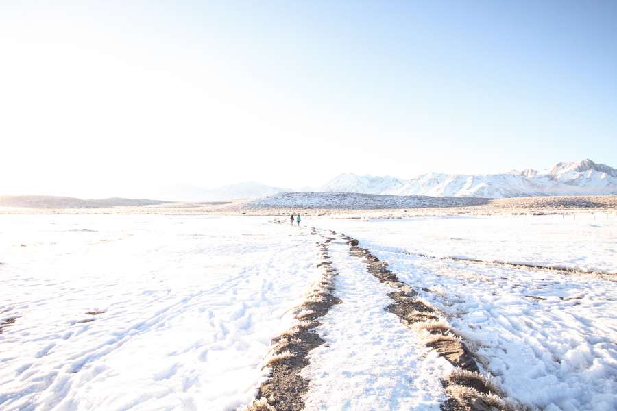 road, snow, ice, arid, man, one person, cold, winter, frozen, temperature, walk, outside, snowy, landscape,