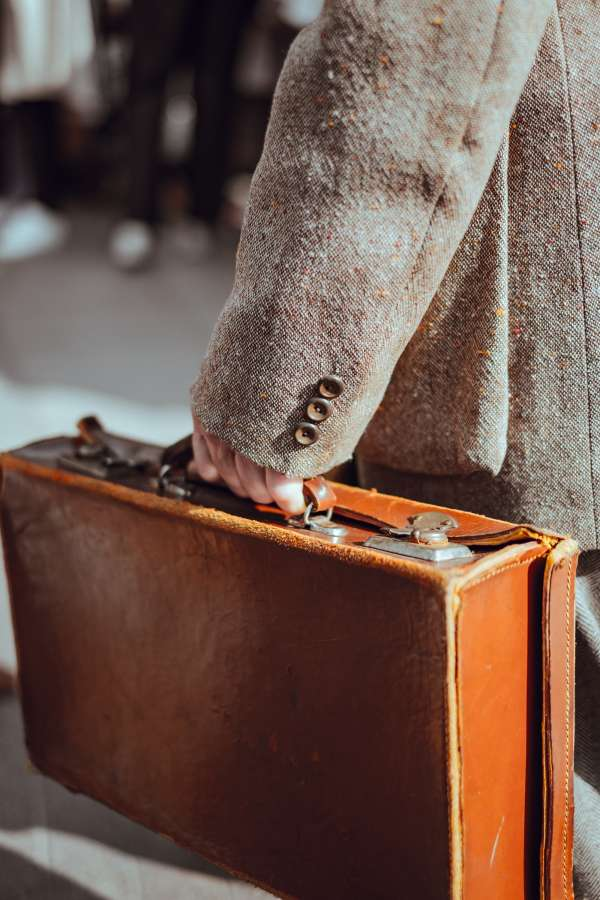 man, jacket, briefcase, suitcase, leather, winter, travel, traveling,