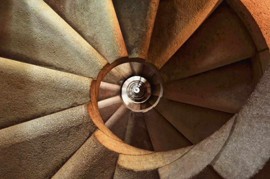 Sagrada Familia, abstracto, arquitectura, fondo, talla, subida, fibonacci, espiral, escalera de caracol, escaleras, piedra,