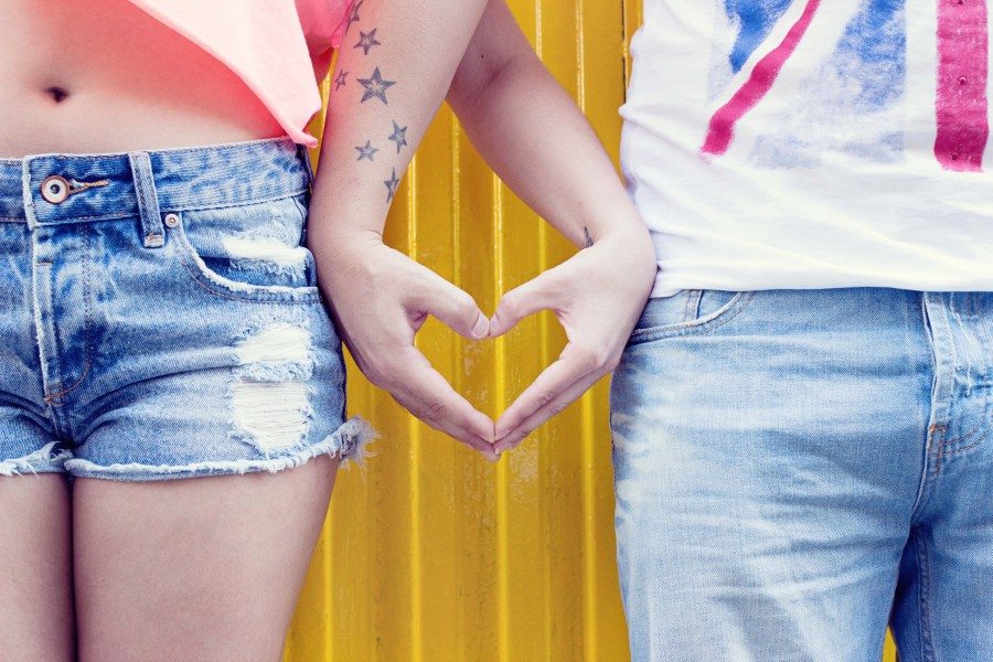 Hands, love, people, heart, jeans, young, tattoo, together, jeans, friendship, man, woman, couple, tattooed stars