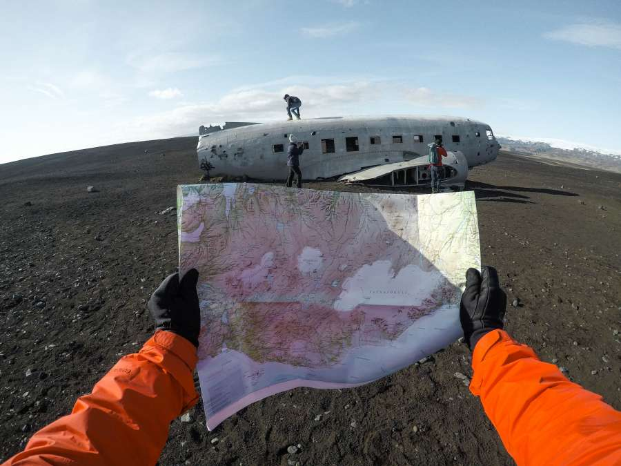 map, airplane, lost, abandoned, old, fuselage, iceland, adventure, discovery, lost, lose, accident, arrive, concept, tourism,