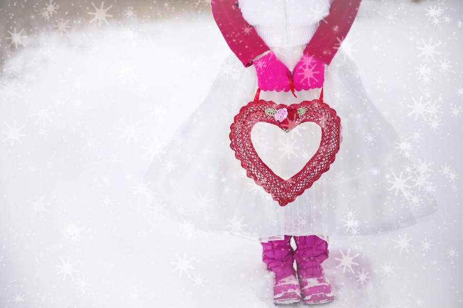 Valentine, heart, romantic, love, girl, tutu, free photos, free pictures, romantic, love, images of love, girl, small, creature, girl, pink, snow