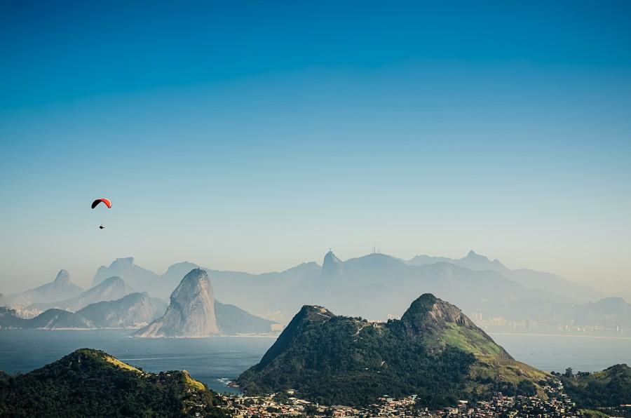 Rio De Janeiro, Capital, Day, Summer, Bahia, Guanabara, city, Landscape, South America, America, Latin, Brazil, Morro, Hang Glider, Sport, Latin America,
