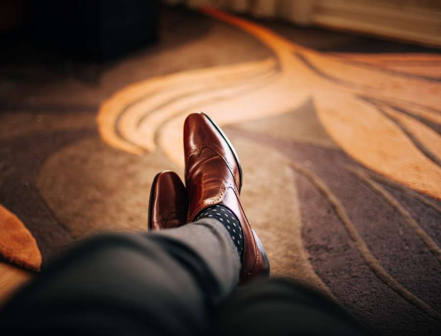man, legs, shoes, leather, business, concept, elegant, bright, interior, wait, relax, wait, businessman, brown,
