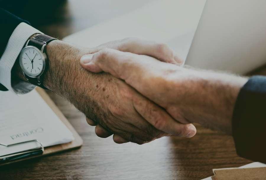 hands, man, office, interior, pact, deal, trust, business, finance, work, clash hands, handshake, concept,