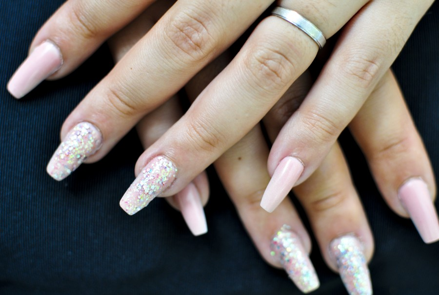 nails, hands, woman, female, ring, shine, glitter, decoration, acrylic nails, beautiful hands, hand care, coffins, artnails, pink, silver, long nails, dual system, dual form