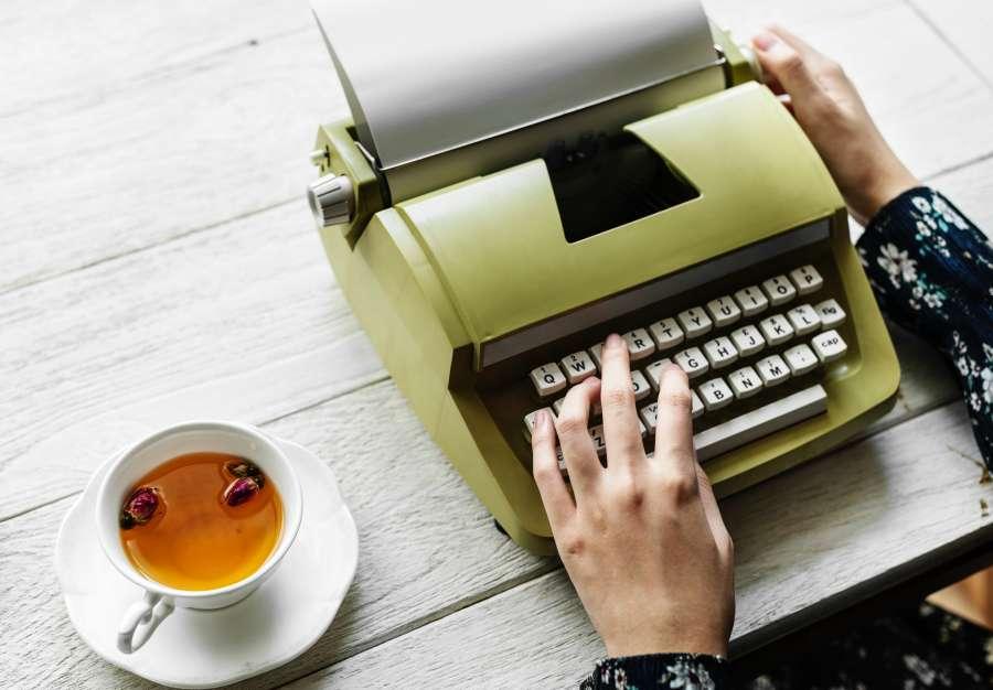 hands, one person, woman, writer, tea, cup, drink, desk, inspiration, work, write, editor, green, interior, vintage, old, typewriter
