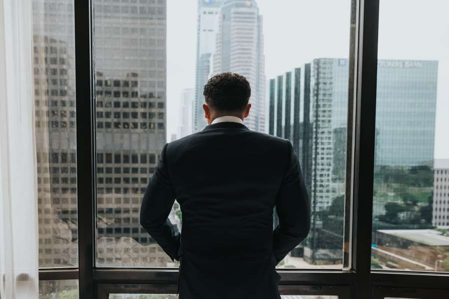 man, office, window, skyline, city, urban, building, executive, adult, suit, back, back view, concept, business, work,