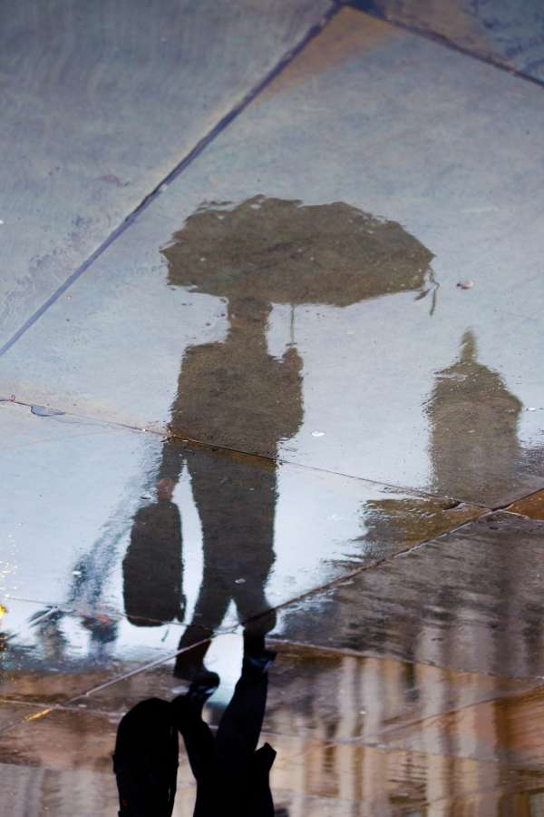 rain, reflection, umbrella, street, city, one person, man, urban, wet, shadow
