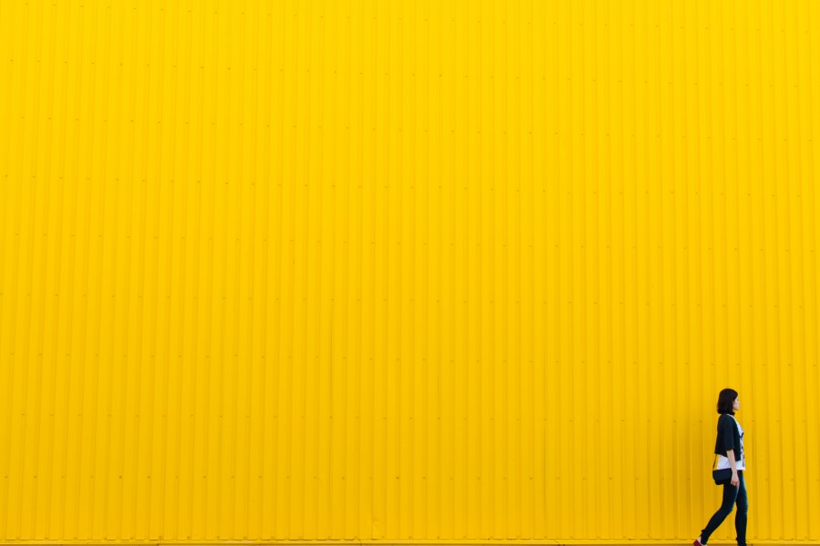 yellow, wall, building, architecture, girl, woman, people, background,