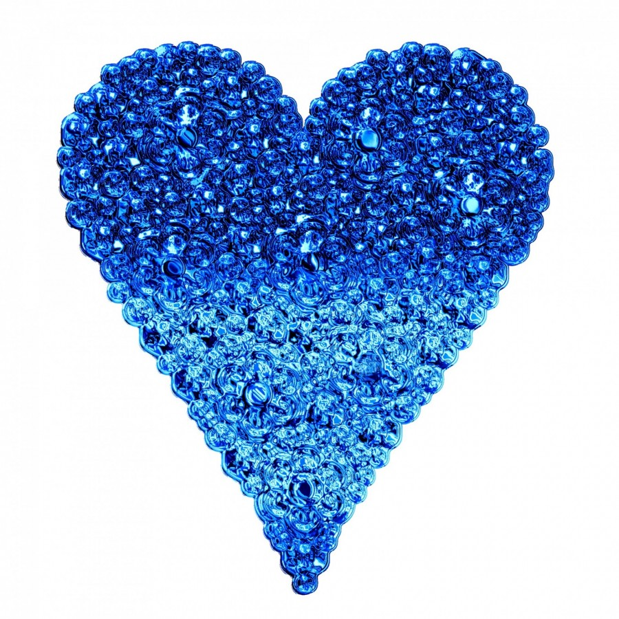 heart, love, blue, crystal, glass, stone, precious stones, white background, valentine,