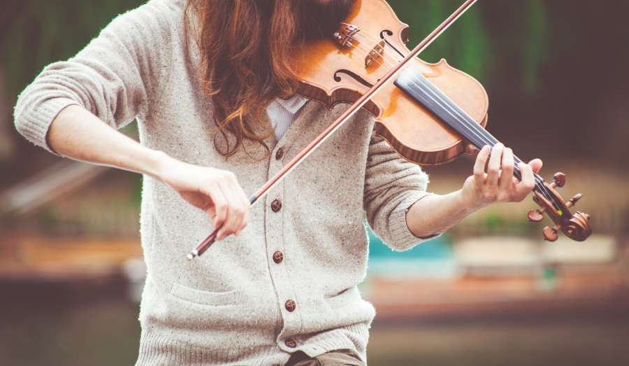 one person, people, woman, playing, violin, instrument, music, art,