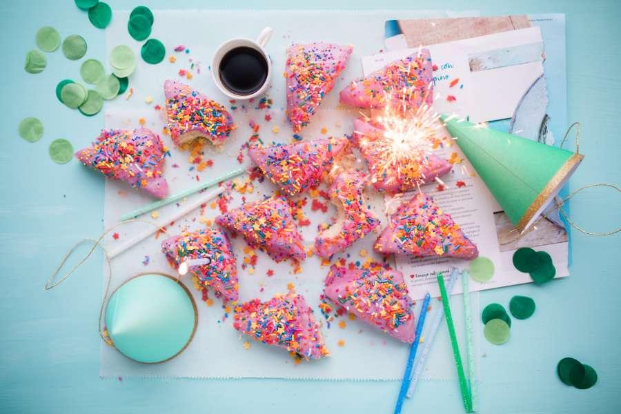 cake, celebration, birthday, celebration, food, sweet, coffee, cup, nobody,