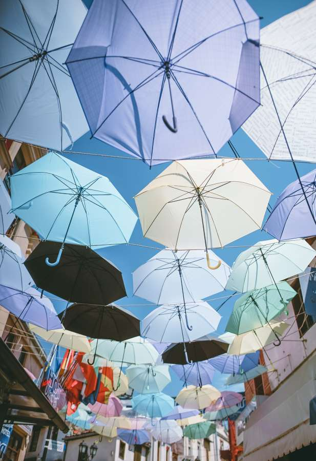 umbrellas, umbrellas, street, urban, colorful, concept, much, roof, day, exterior,