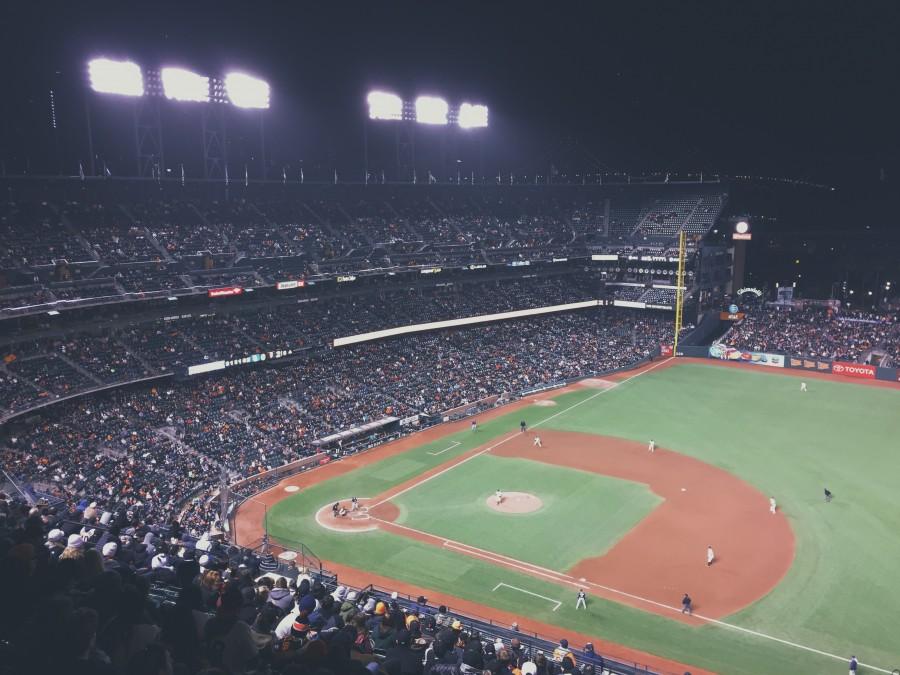 baseball, stadium, people, crowd, light, lights, lighting, party, event, night, field, grandstand, fans,