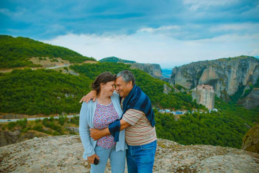 couple, hug, adult, exterior, landscape, holidays, trip, day, mountain, 50 years,