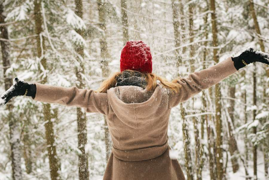 woman, outside, snow, winter, shelter, forest, freedom, holidays, happiness, joy, hat, snowy, tree, open arms,