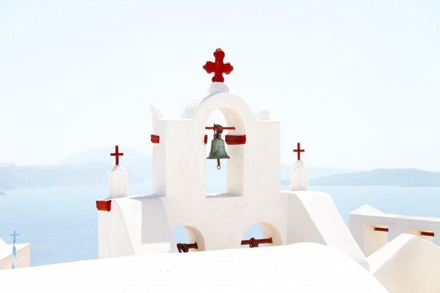 Greece, Europe, landscape, bell, red, cross, architecture,