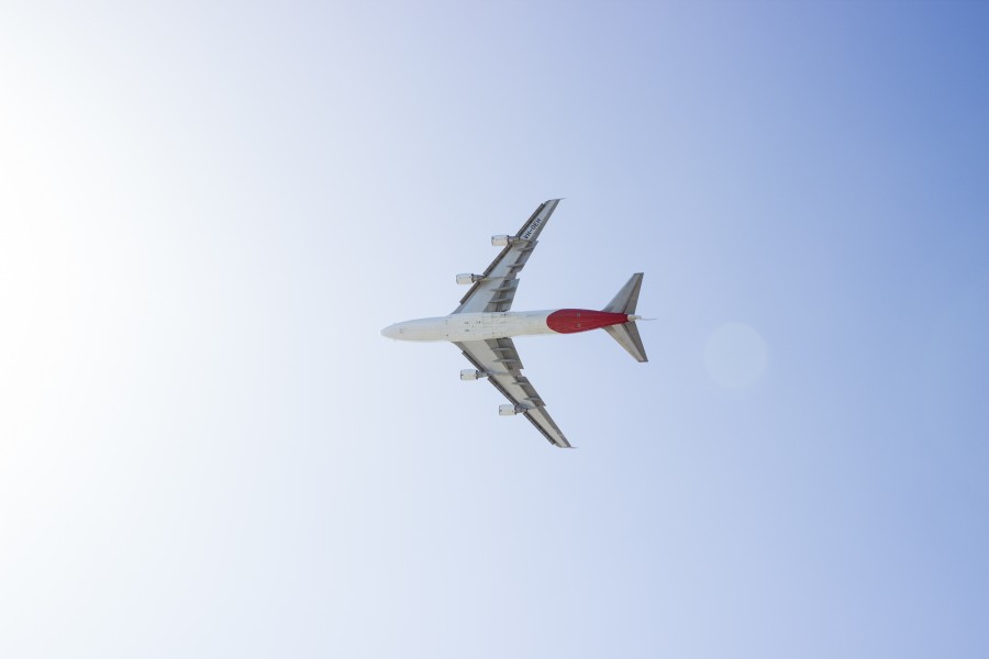 airplane, commercial, flying, seen from below, sky, travel, travel,
