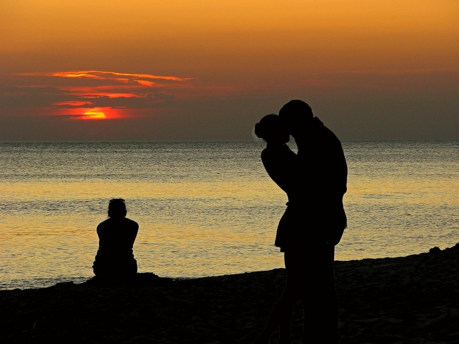 couple, love, sunset, day, silhouette, shadow, outdoors, sea, nature, outside, people, two people, romance, romantic, beach, coast, kiss, kissing,