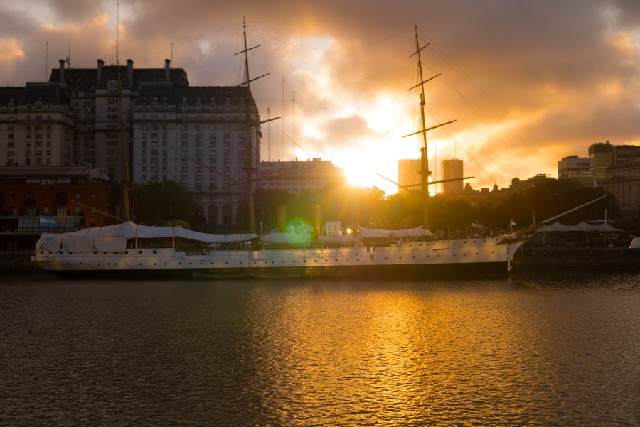 puerto madero, buenos aires, night, sunset, frigate, libertad, city, architecture, dock, bay,