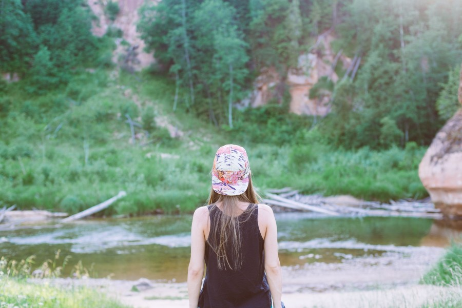 one person, people, woman, outdoors, day, outdoor, summer, forest, looking, back, young, cap, hat, nature, concept, vacation, traveling, travel,