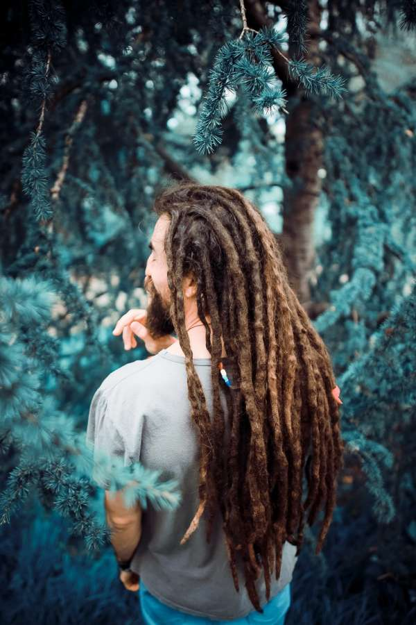 man, portrait, adult, rasta, dreadlocks, outside, nature, forest, walking, day, happy, happy, happiness, outdoors,