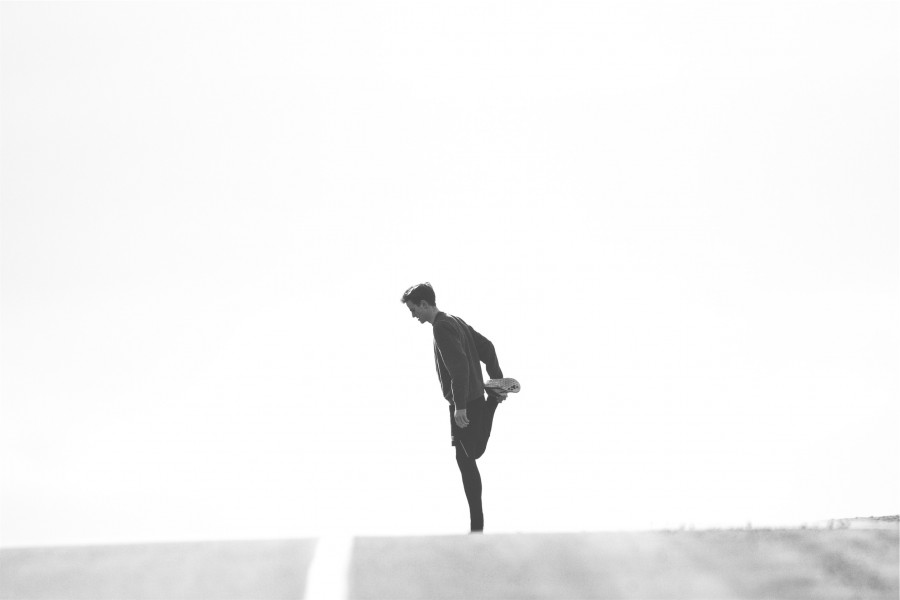runner, stretching, fitness, exercise, sports, guy, man, people, road, black and white, 20 years,