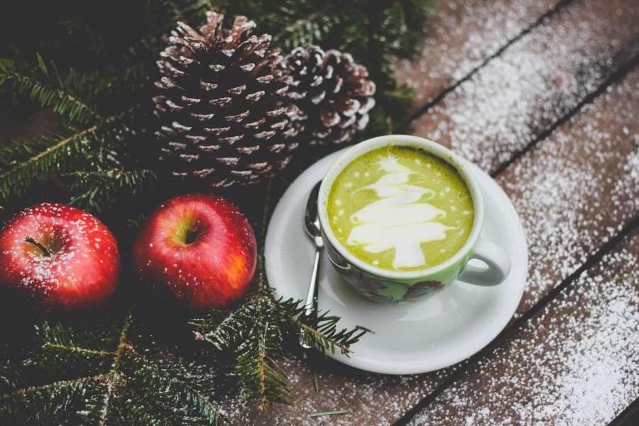 coffee, cup, christmas, green, tree, pine, apple, apple, art, drawing,