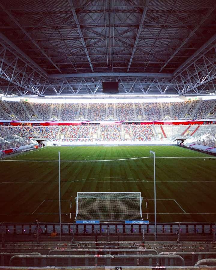 stadium, soccer, sport, goal, illuminated, night,