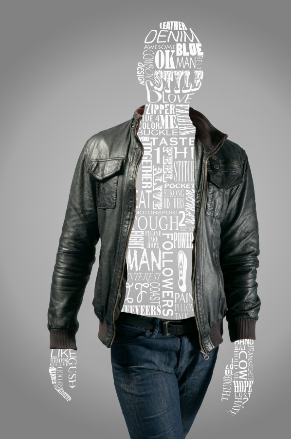casual, design, jacket, jeans, leather, male, man, print, style, words, fashion, concept,