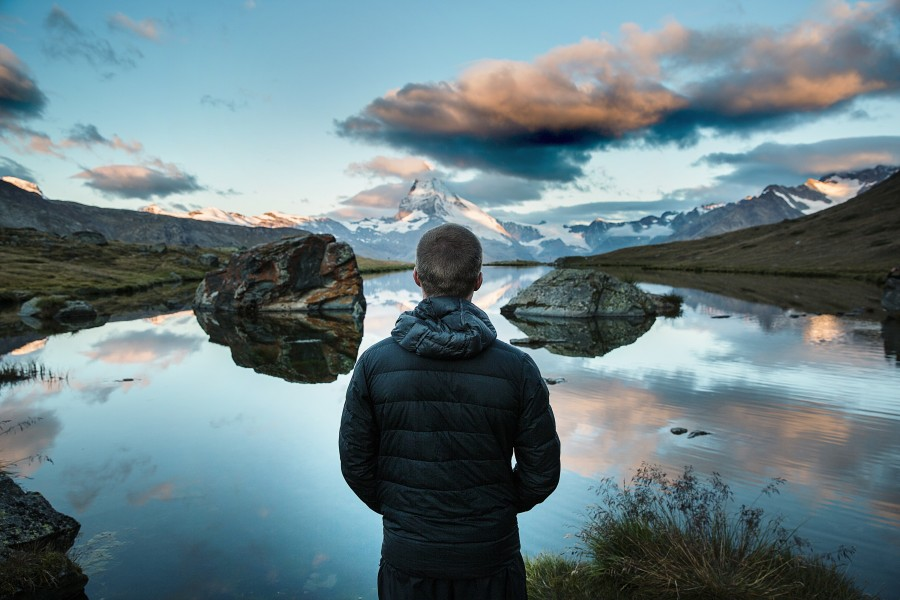 one person, people, man, watching, lake, horizon, landscape, young, adult, vacation, traveling, travel, mountain, winter, jacket,