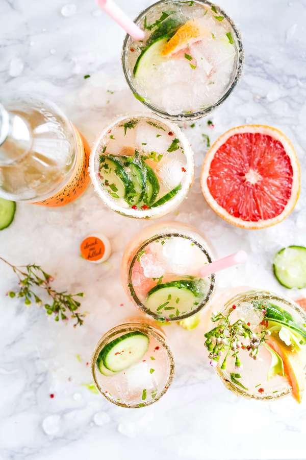cocktail, drink, ice, alcoholic, grapefruit, cucumber, fresh, freshness, glass, sorbet, slice, fruit,