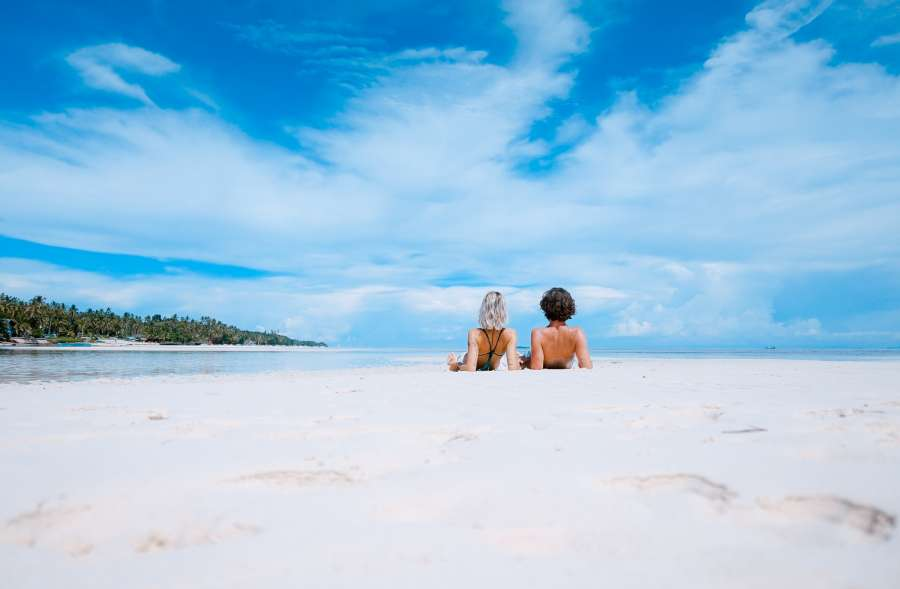 couple, love, vacation, trip, tropical, sand, beach, white, two people, day, exterior, caribbean, summer, heat, young, relax, tranquility, rest,