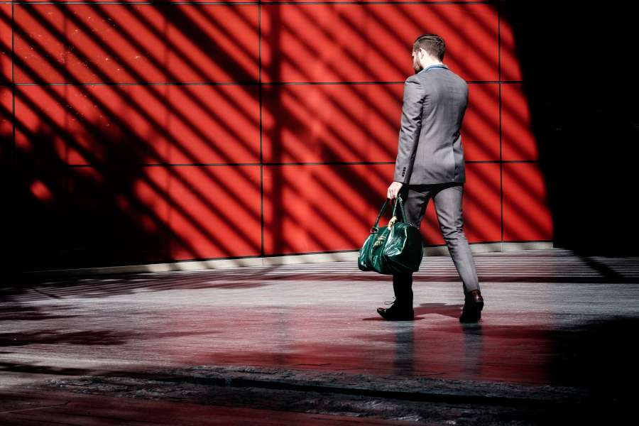 man, business, suit, elegant, work, outside, walking, bag, leather, bag, businessman,