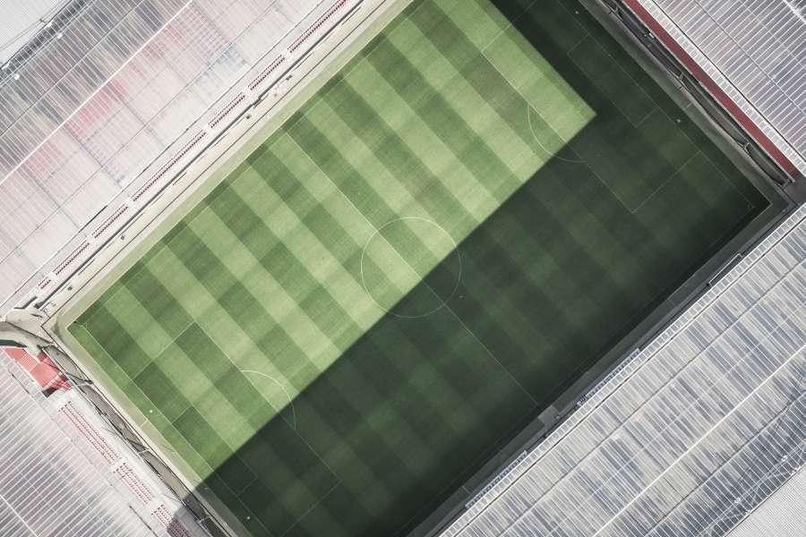 football, stadium, empty, sport, aerial view, nobody, playing field, grass, tribune, soccer, drone view,
