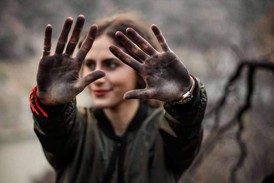 woman, hands, earth, young, environment, protection, show, dirty, dirt, neighborhood, concept, selective focus, one person, 20 years,