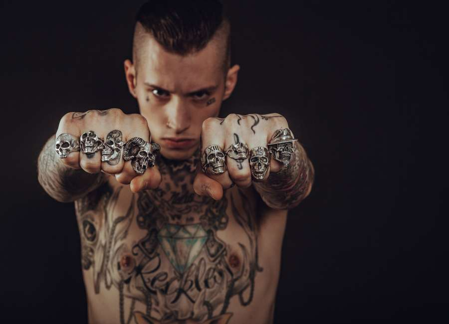 man, young, tattoo, attitude, ring, rock, heavy metal, fist, concept, hit, look, serious, gang,