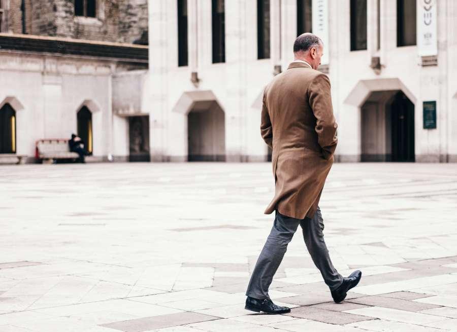 man, walking, city, urban, suit, sack, winter, adult, senior, brown, 50 years,