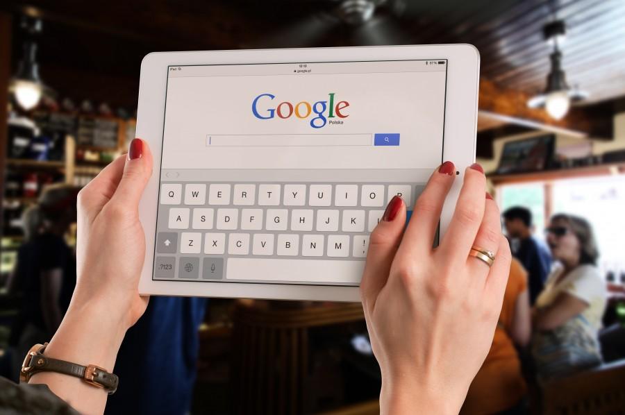 Woman, hands, technology, internet, finder, google, close-up, tablet,