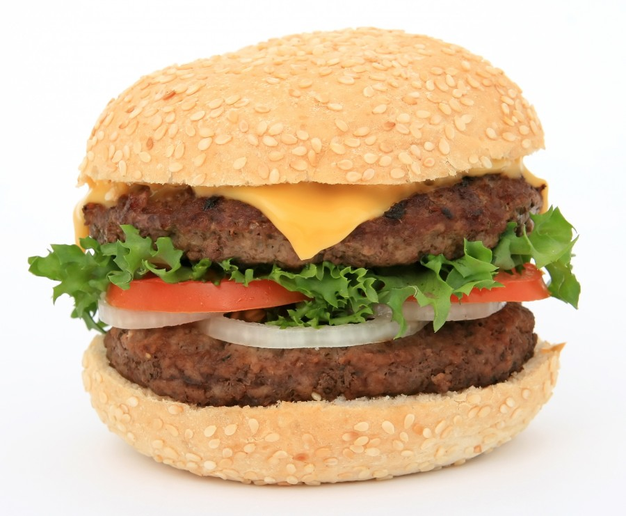 hamburger, food, white background, cheese, lettuce, meat,