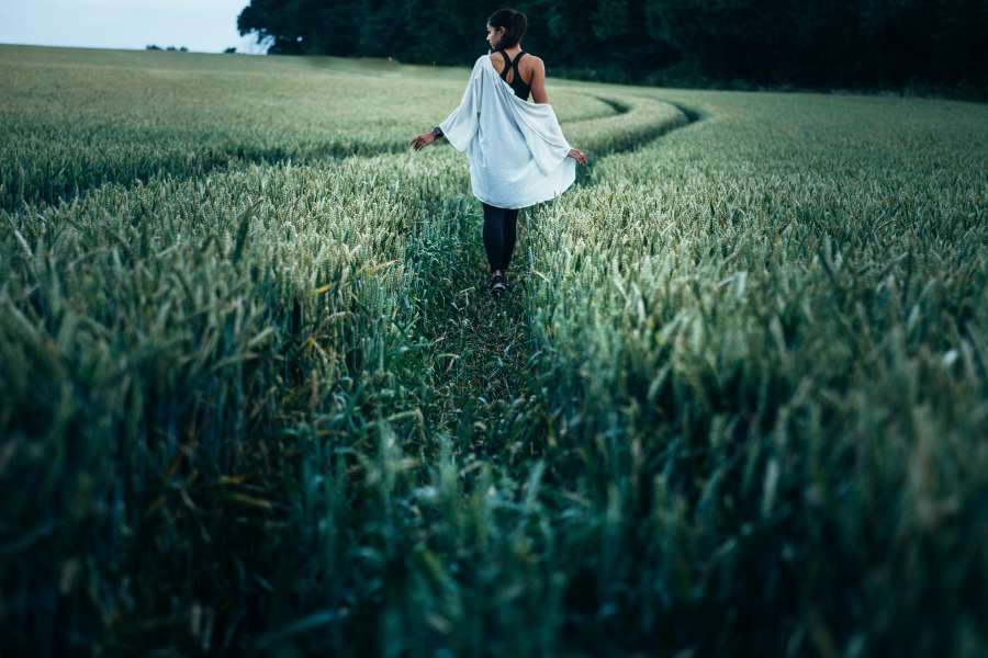 woman, young, walking, outside, walking, field, road, outdoors, attitude, travel, person, freedom, concept, people,