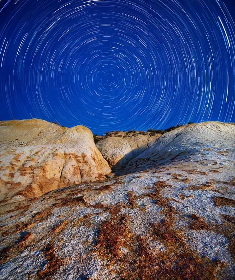 Sky, star, rock, night, landscape