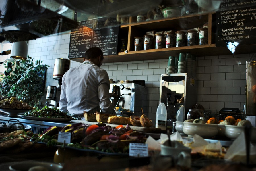 interior, restaurant, kitchen, one person, people, man, cooking, coffee, bar, bar, food, cook, young, profession, waiter attention,